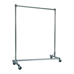 Z Racks - Heavy Duty Z-Rack Garment Rack w 5 ft. Single - Base Color: Silver. 500lb capacity. 14 gauge, 60 in. Long steel base (Environmentally safe powder coated finish ). 16 gauge, 60 in. upright bars and hang rail. 1 5/16 outside diameter upright bars and hang rail. Grey non-marking soft rubber with TP center 4 in. casters . Made in the USA. 63 in. L x 23 in. W x 67 in. HIf you don�۪t know what five feet of upright storage combined with five feet of length can do, you�۪ve got to try this Z-Rack. With perfect proportions and a variety of colors to choose from, this Z-Rack rack can solve a variety of storage problems, such as office organization and apparel needs.