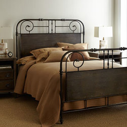 """Horchow - Maribelle Iron King Bed - Tubular structured bed features classic, turn-of-the-century styling. Made of cast iron with a brushed antiqued-brass finish. Height from floor to box spring: 6"""" Twin bed, 41""""W x 81""""D x 54""""T. Boxed weight, approximately 77 lbs. Queen bed, 63""""W x 85""""..."""