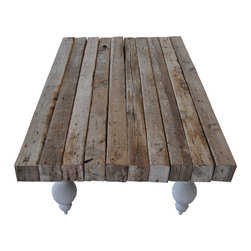 Nine O Nine - Vintage Wood Coffee Table - This unique and one of a kind coffee table is a different piece because of its combination of recycled and vintage wood with concrete legs. Perfect for a beautiful living or TV room.