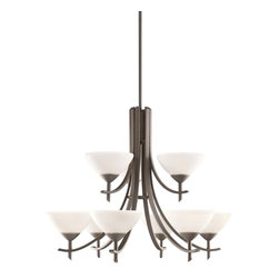 Kichler Lighting - Kichler Lighting 1680OZW Olympia Transitional Chandelier - The Olympia Collection brings a modern twist on the classic aesthetic to create a new form the likes of which has not been seen before. The curvilinear, flowing arms of these chandeliers, pendants, and wall sconces create a clean, contemporary profile for your home. The Olde Bronze finish combined with Sunset Marble glass diffusers and shades present a natural color palate capable of matching any décor. This handsome 2-tiered chandelier is the largest in the Olympia Collection. Its 9-light design employs 60-watt (max.) bulbs for superb lighting power making it the perfect showpiece for any large, open room.