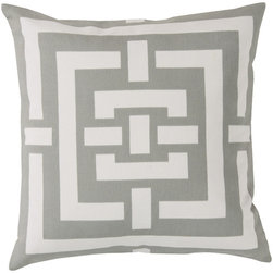 Surya - Circles and Squares by Florence Broadhurst, Light Grey Pillow - Florence Broadhurst's drawings were used to design these two toned maze pillows, coming in a variety of five colors. Along with being made of a purely cotton covering, this pillow contains a hidden zipper closure.