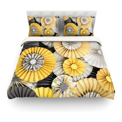 """Kess InHouse - Heidi Jennings """"Daffodil"""" Yellow Black Cotton Duvet Cover (Twin, 68"""" x 88"""") - Rest in comfort among this artistically inclined cotton blend duvet cover. This duvet cover is as light as a feather! You will be sure to be the envy of all of your guests with this aesthetically pleasing duvet. We highly recommend washing this as many times as you like as this material will not fade or lose comfort. Cotton blended, this duvet cover is not only beautiful and artistic but can be used year round with a duvet insert! Add our cotton shams to make your bed complete and looking stylish and artistic! Pillowcases not included."""
