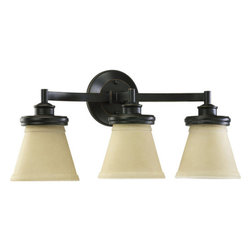 """Quorum International - Quorum International 5052-3 Three Light 21.75"""" Wide Bathroom Fixture - Three light bathroom fixture featuring Amber Scavo GlassRequires 3 100w Medium Bulbs (Not Included)UL listed for Damp Locations"""