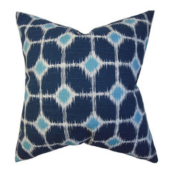The Pillow Collection - Kyd Geometric Pillow Blue - Transform your home into a sleek and chic territory with this stunning accent pillow. The dynamic geometric detail of this throw pillow takes your decor style to a new level. Decorated with a uniquely designed print in various shades of blue, this statement piece is great for a modern look. Crafted with 100% cotton fabric. Hidden zipper closure for easy cover removal.  Knife edge finish on all four sides.  Reversible pillow with the same fabric on the back side.  Spot cleaning suggested.