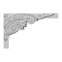 """Ekena Millwork - 11""""W x 7""""H x 5/8""""D Springtime Stair Bracket, Right - With the beauty of original and historical styles, decorative stair brackets add the finishing touch to stair systems.  Manufactured from a high density urethane foam, they hold the same type of density and detail as traditional plaster stair bracket products.  They come factory primed and can be easily installed using standard finishing nails and/or polyurethane construction adhesive."""