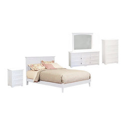 """Monterey Open Footrail 5 PC White Bedroom Set (Bed, Nightstand, Dresser, Mirror - Comfort allows the Monterey Open Footrail 5 PC White Bedroom Set (Bed, Nightstand, Dresser, Mirror and Chest) the opportunity to fit any bedroom with an added footboard or a flat-panel drawer. It's easy to assemble. A hook-and-rail system makes disassembly a breeze, and it makes the addition of a storage under the bed or a footboard easy. It brings the beauty of the central California coastline to your bedroom. An eco-friendly hardwood from rubber trees that have run out of sap makes this bed part of the """"green"""" revolution. Twin, Full, Queen, and King sizes make it perfect for all sizes of people."""