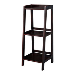 None - Espresso Classic Styling 3-shelf Bookcase - The free standing 3-shelf Corner Bookcase is constructed of solid hardwood and is designed to make the most of your available space.