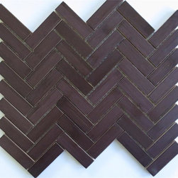 Modwalls Harvest Bamboo Mosaic Herringbone, Espresso Roast - This ecofriendly bamboo wall tile would look smashing in a man's office. I would pair it with copper and orange accents.