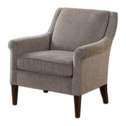 Uttermost - Sleek Chair Silhouette Trim Roll Arms Well-Padded Tight Back Home Decor - Brown attractive sleek chair silhouette of trim roll arms with a well-padded tight back home accent decor