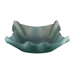 Yosemite Home Decor - Jade Shell Glass Basin - Beautiful folded basin with frosted turquoise glass