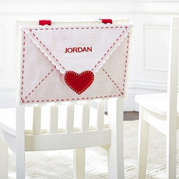 Envelope Chair Backer - Sneak a secret note into this for your little valentines. You can also use it after Valentine's Day to organize paperwork or homework.