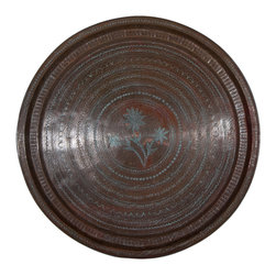 Singh Imports - Consigned Antique Copper Tray - This is an original copper tray from north India. beautiful and in good condition. One of a kind.