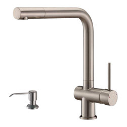 Ruvati - Ruvati RVF1221K1CH Faucet Soap Dispenser - This premium Ruvati kitchen faucet from the Cascada collection. The ceramic disc cartridge ensures drip-free functionality. The faucet can be installed into countertops up to two inches thick. Hot and cold water connection hoses are included.
