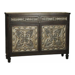 Mistrel Floral Mediterranean 2-Door Hall Chest - The inlay on these doors reminds me of the intricate ceiling tiles I love so much.