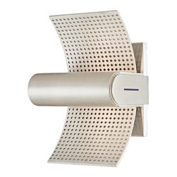 """CSL - Sail Perf Aluminum 7 3/4"""" High ADA Outdoor Wall Light - This contemporary outdoor wall light offers fabulous styling with a sleek contoured design. This piece is presented in a gorgeous satin aluminum finish. The Sail wall light features a perforated aluminum diffuser for an interesting textured look. Rated for sheltered outdoor locations. This attractive design is a great choice for adding light and style to your exterior. Satin aluminum finish. Aluminum construction. Rated for damp locations. ADA compliant. Includes two 20 watt xenon bulbs. 7 3/4"""" high. 5 1/4"""" wide. Extends 3 3/4"""" from the wall.  Satin aluminum finish.   Aluminum construction.   Rated for damp locations.   ADA compliant.   Includes two 20 watt xenon bulbs.   7 3/4"""" high.   5 1/4"""" wide.   Extends 3 3/4"""" from the wall."""