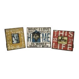 """IMAX CORPORATION - Morris Home Happy and Life Frames - Set of 3 - This set of three frames feature bold sayings you will be proud to display in your home with the photos of people you cherish the most. Set of 3 in various sizes measuring around 14""""L x 13""""W x 7""""H each. Shop home furnishings, decor, and accessories from Posh Urban Furnishings. Beautiful, stylish furniture and decor that will brighten your home instantly. Shop modern, traditional, vintage, and world designs."""