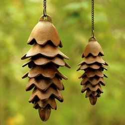 Pinecone Wind Chime - Free form iron pinecones on a length of chain for hanging. Two sizes to choose from as a distinctive outdoor accessory. Perfect for the mountain cabin of your dreams or the suburban subdivision of the present.