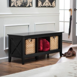 Belham Living Hampton Storage Bench - Black - We all need more storage. If you want a solution that's better-looking than those plastic tubs you're using now, the Hampton Storage Bench is for you. With its sleek black finish and decorative side panels, this bench will look good in any room in your house. Nowhere to put your shoes in the mudroom? Have a seat on the Hampton Storage Bench, take off your shoes, and store them in the open cubbies below. Need a more polished look for the living room? Add three decorative baskets to keep your stuff out of sight. Kids need help organizing their rooms? Park a Hampton Storage Bench at the end of the bed and the problem is solved. About Belham LivingBelham Living builds catalog-quality furniture in traditional styles at a price that actually makes sense. By listening to our customers and working closely with great manufacturers, we build beautiful pieces worthy of your home. Rich wood finishes, attention to detail, and stylish lines that tie everything together are some of the hallmarks of a Belham Living piece. From the living room or bedroom, through the kitchen, and out onto the deck, there's something from an incredible Belham collection perfect for your style.