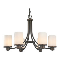 Design Classics Lighting - Modern Chandelier with White Glass in Neuvelle Bronze Finish - 588-220 GL1024C - Contemporary / modern neuvelle bronze 6-light chandelier. Takes (6) 100-watt incandescent A19 bulb(s). Bulb(s) sold separately. UL listed. Dry location rated.