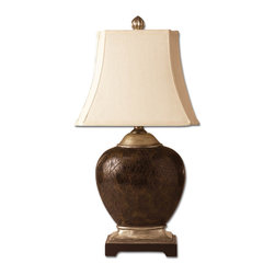 Uttermost - Sabine Oval Table Lamp - This gorgeous faux polished penshell lamp is finished in various tones of brown with scratched silver and cast aluminum accents. The rectangle bell shade has stepped corners and is ivory woven.
