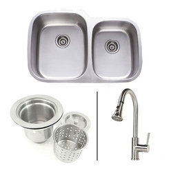 TCS Home Supplies - 32 Inch Double Bowl Kitchen Sink And Lead Free Faucet Combo - 18 Gauge - 32 Inch Kitchen Sink and Lead Free Faucet Combo. Package Includes Double Bowl Kitchen Sink, Deluxe Lift-out Basket Strainer & a Lead Free Brushed Nickel Sprayer Kitchen Faucet.