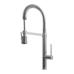 Whitehaus - Whitehaus Whlx78557S-Bn Commercial Faucet - Metrohaus commercial single hole faucet with flexible spout, pull-down spray head swivel support bar and lever handle