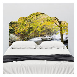 J. Paul Moore - Paul Moore's Smokey Mountain River Headboard Wall Decal - Spring green and rushing water will make you feel right at home with this adhesive headboard wall decal featuring Paul Moore photography.