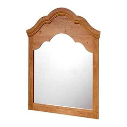 """South Shore - Mirror w Wood Frame in Pine Finish - This Pine Finish Beveled Crest Frame Wall Mirror is a warm inviting piece ready for mounting alone or with the set. With particle board construction and the manufacturers 5 year warranty this mirror is as stylish as it is affordable. Pair this lovely pine framed mirror with our other pine pieces or display this mirror on its own, it's your choice! The mirror features the same design as the pine headboard that we feature, which is classic and quite beautiful. Give your daughter a place to get ready each day with this attractive wall mirror. * Manufactured from eco-friendly, EPP-compliant laminated particle boardcarrying the Forest Stewardship Council (FSC) certification. Particle board constructionShips ready to assemble. Manufacturer's Five year limited warrantyRich Pine finish41""""W x 41""""H"""