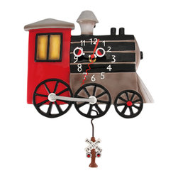 Allen Designs - Allen Designs TOOTS Retro Locomotive Pendulum Wall Clock Train - This whimsical steam locomotive pendulum clock is called `TOOTS` and is by Allen Designs. Made of cast resin, this clock features a hand painted black, red and gray finish, and has a railroad crossing signal swinging back and forth at the bottom of the pendulum. The clock is coated in polyurethane to keep the colors bright and give it a glossy look. It measures 12 1/2 inches high, including the pendulum, and is 10 inches wide. it`s a must-have for train lovers.