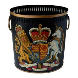 The Enchanted Home - Gorgeous Crest Wastepaper Basket - Gorgeous crest wastepaper basket on black tole. Very elegant and and stately. Very masculine with beautiful pierced gold rim border top.