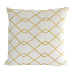 The Pillow Studio - Yellow Embroidered Pillow Covers with Trellis Design - This pillow has a bold, trellis design and great contrast between the bright yellow and the crisp white.