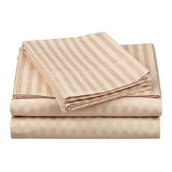 650 Thread Count Egyptian Cotton King Beige Stripe Sheet Set - 650 Thread Count Egyptian Cotton oversized King Beige Stripe Sheet Set