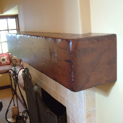Distressed Beam Mantel Shelves - Floating distressed mantel shelf
