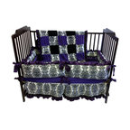 Baby Twin - Purple Damask Baby Crib Bedding - This 4-piece baby bedding set includes a bumper, a comforter, a skirt and a fitting sheet. It is made with the highest quality fabric- velour print and satin- to comfort your little one and all the little details that will make your nursery special!