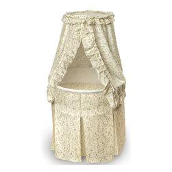 Badger Basket - Empress Round Baby Bassinet - Ecru and Leaf Print Bedding - Empress Round Baby Bassinet - Ecru and Leaf Print Bedding