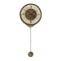 UTTERMOST - Uttermost Leonardo Chronograph Cream Wall Clock - Weathered laminated clock face with a cast brass outer rim, brass center components and long working pendulum.