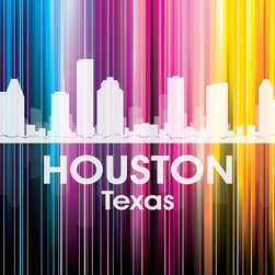 Houston Vertical Lined Rainbow Print - Best known for its oil, NASA and 10 winding waterways that flow through the surrounding area, the Bayou City shines bright in a rainbow of color. Show off a little city pride with the digital and photographic layers on this mixed-media art.