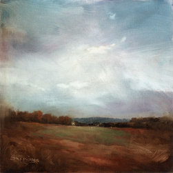 """""""Hill Country"""" Artwork - Oil on Linen Panel - A pastoral landscape of fall trees under a soft sky focusing on a distant blue hill"""