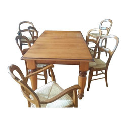 Pottery Barn Rustic Wood Dining Table With Chairs And Barstools - Retail Price: $3800