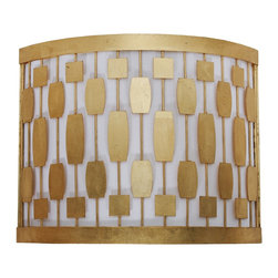 Worlds Away - Worlds Away Gold Leaf Mid Century Motif Wall Sconce LEWIS G - Gold leaf mid century motif sconce with white inner shade. Ul approved for two 40 watt candelabra bulbs