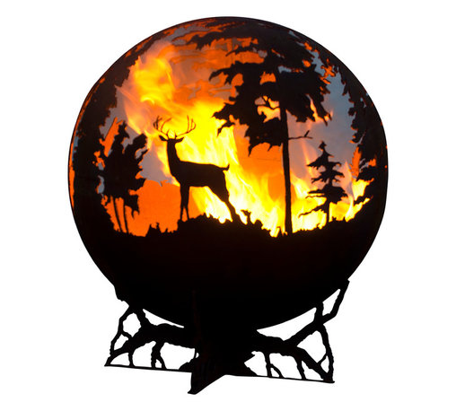 "The Fire Pit Gallery - Up North 37"" Fire Pit Sphere with Craggy Tree Branch Base - The Up North is a unique sphere fire pit that features a Bull Moose, a family of deer including a doe, her fawn, and the buck nearby, and ducks flying over tamarack trees. This piece of functional art was inspired by the north woods of Minnesota where Marlene (Melissa's mother) grew up. Created as a wood burning sculptural firepit this globe can be converted to gas and is a beautiful addition to your backyard whether lit or unlit."