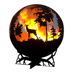 """The Fire Pit Gallery - Up North 37"""" Fire Pit Sphere with Craggy Tree Branch Base - The Up North is a unique sphere fire pit that features a Bull Moose, a family of deer including a doe, her fawn, and the buck nearby, and ducks flying over tamarack trees. This piece of functional art was inspired by the north woods of Minnesota where Marlene (Melissa's mother) grew up. Created as a wood burning sculptural firepit this globe can be converted to gas and is a beautiful addition to your backyard whether lit or unlit."""