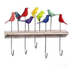 Fair Trade Hummingbird Hooks at Greenheart - Greenheart Shop - These hummingbird hooks add color and fun to a bathroom or mud room. It's a great way to bring a playful element in to brighten up the space.