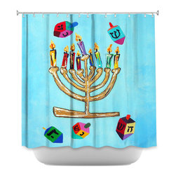DiaNoche Designs - Shower Curtain - Menorah II - DiaNoche Designs works with artists from around the world to bring unique, artistic products to decorate all aspects of your home.  Our designer Shower Curtains will be the talk of every guest to visit your bathroom!  Our Shower Curtains have Sewn reinforced holes for curtain rings, Shower Curtain Rings Not Included.  Dye Sublimation printing adheres the ink to the material for long life and durability. Machine Wash upon arrival for maximum softness. Made in USA.  Shower Curtain Rings Not Included.