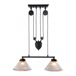 ZUO Modern - Garnet Ceiling Lamp by ZUO Modern - A precise reproduction of an antique light with an industrial past, the Garnet ceiling lamp's pulley system and antique patina finish will turn heads. The lamp comes with two 60w bulbs and is UL approved.