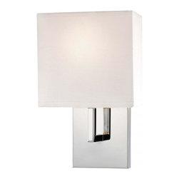 Minka George Kovacs - Minka George Kovacs Decorative Wall Sconces 1-Light Chrome Wall Light - This 1-Light Wall Light has a Chrome finish and a shade -White Linen finish. It is ADA Compliant.