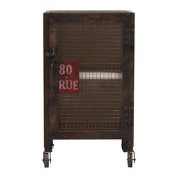 "Habitat Home & Garden - 80 Rue Metal Side Table - The 80 Rue Metal Side Table features an industrial metal frame and wheels. Metal grating covers the front, as well as a quirky sign that reads ""80 RUE."" Is this an address? Is it cut off from a larger sign? Who knows?"