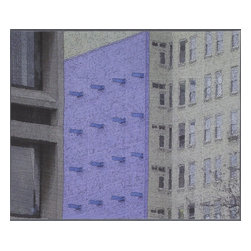 "New York Windows 1301, Original, Mixed Media - ""digitally manipulated photography, pigment printing on silk, piecing, hand quilting, gallery-wrapped stretched canvas support"""