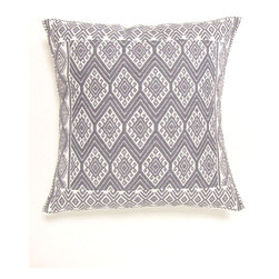 Chiapas Bazaar - Handwoven Mexican Throw Pillow Cover, Light Grey - This is a handwoven pillow cover made on the back strap loom by master artisans of Chiapas, Mexico.  The weaving technique and the design date back to the Mayan period.