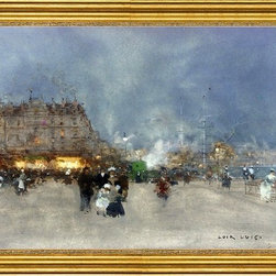 """Luigi Loir-16""""x24"""" Framed Canvas - 16"""" x 24"""" Luigi Loir Evening Promenade, Le Havre framed premium canvas print reproduced to meet museum quality standards. Our museum quality canvas prints are produced using high-precision print technology for a more accurate reproduction printed on high quality canvas with fade-resistant, archival inks. Our progressive business model allows us to offer works of art to you at the best wholesale pricing, significantly less than art gallery prices, affordable to all. This artwork is hand stretched onto wooden stretcher bars, then mounted into our 3"""" wide gold finish frame with black panel by one of our expert framers. Our framed canvas print comes with hardware, ready to hang on your wall.  We present a comprehensive collection of exceptional canvas art reproductions by Luigi Loir."""